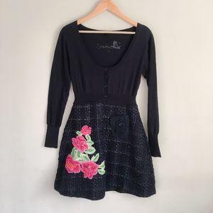 DESIGUAL Tweed Floral Embroidered Dress